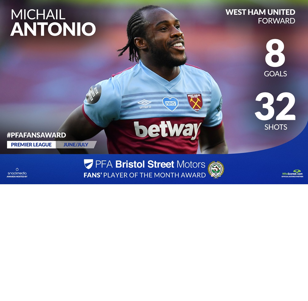 Antonio Named Among PFA Player Of The Month Nominees Along With United, City And Chelsea Stars
